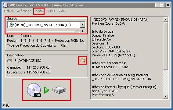 Graver avec DVDecrypter