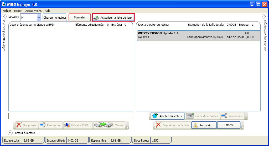 Copier ou supprimer un fichier Wii sur un disque dur externe